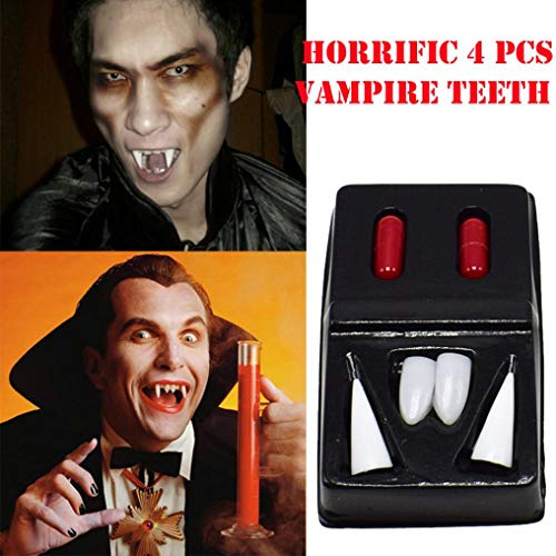 Livoty Halloween 4Pcs Dress Vampire Teeth Dentures + 2Pcs Blood Pills Vampire Zombie Party Props Toys (White) ()