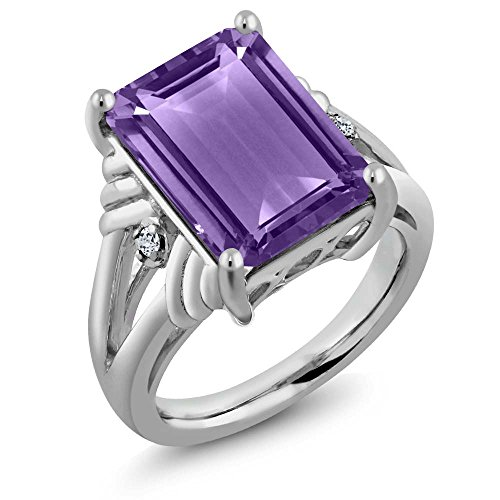 925 Sterling Silver Purple Amethyst and White Topaz Women's Ring 7.14 Ctw Emerald Cut (Size (Ctw Emerald Ladies Ring)