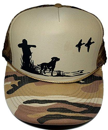 Dog & Hunter Duck Hunting Camouflage Camo Mesh Trucker Hat Cap (Tan Camo)