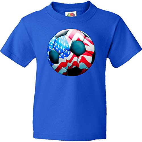 Inktastic Big Boys' World Cup American Soccer Ball Youth T-Shirt Youth Large (14-16) Royal Blue