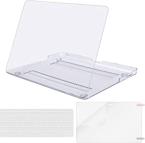 MOSISO Plastic Hard Shell Case & Keyboard Cover & Screen Protector Only Compatible with Old Version MacBook Pro 13 inch (A1278, with CD-ROM), Release Early 2012/2011/2010/2009/2008, Crystal Clear