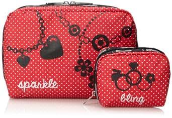 LeSportsac Luggage Extra Large Rectangular and Square Cosmetic Combo Luggage Accessory Lip Stick Pin Dot Combo One Size