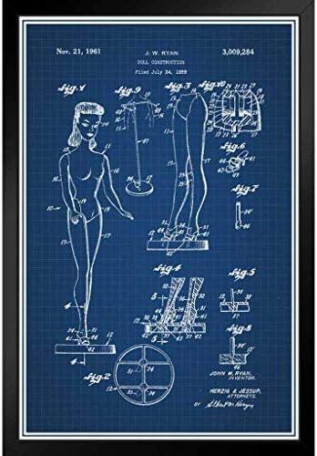 ポスター - 人形1959おもちゃ公式特許の青写真アートパネル 印象派 壁掛け 絵画 - 28*23cm(額縁を送る)