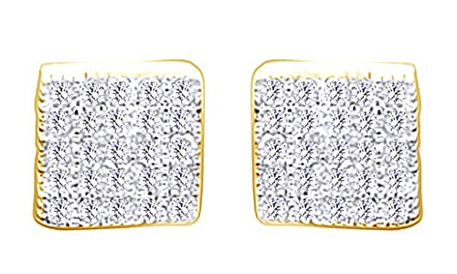 10K Solid Yellow Gold Round Cut White Natural Diamond Hip Hop Stud Earrings (0.23 Cttw) by wishrocks