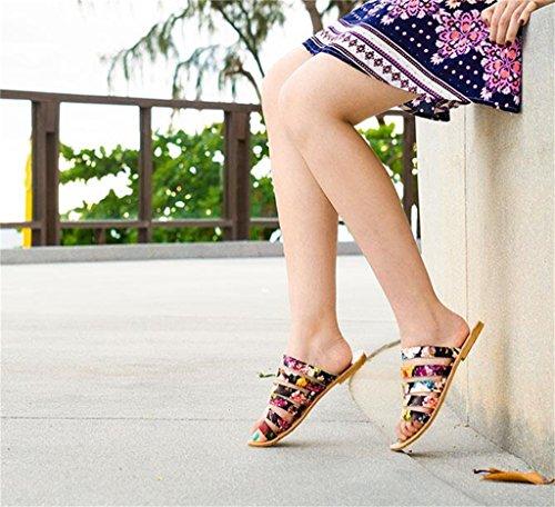 PU Loisirs Boucle Chaussures Pantoufle Slip Plage Filles en La Plat Toe Balnéaire Kaki Semelle Caoutchouc pour Été pour on en avec Femme Floral Talon Dames Sandale Gladiator Romain 0q757R
