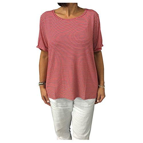 Persona by Marina Rinaldi t-Shirt Donna Righe Rosso/Bianco MOD VALGO 95% Viscosa 5% Elastan Vest.Over (XL - 52)