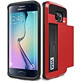 Galaxy S6 Edge Case, Asstar [Stand Feature] Wallet case [Anti Scratch][Card Pocket] Dual Layer Shockproof [Soft Rubber Bumper] Hybrid Protective Card Case for Samsung Galaxy S6 Edge (Red )