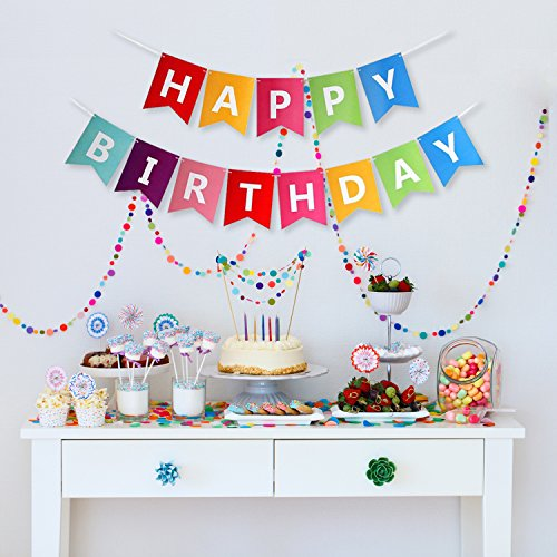 LIMITLESS Premium Quality Colorful Happy Birthday Bunting Banner with White Lettering and Black/White Yarn String.