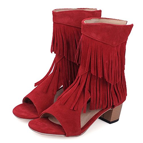 COOLCEPT Women Mid Block Heels Fashion Boots Fringed Open Toe Ankle Bootie Shoes