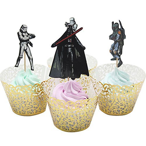 BETOP HOUSE Set of 24 Pieces Star Wars Theme Party Decorative Cupcake Topper for Kids Birthday Party -