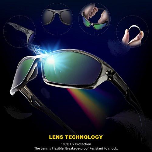 RIVBOS Polarized Sports Sunglasses Driving Glasses for Men Women for Cycling Baseball 842 Gray& Green Polarized Lens