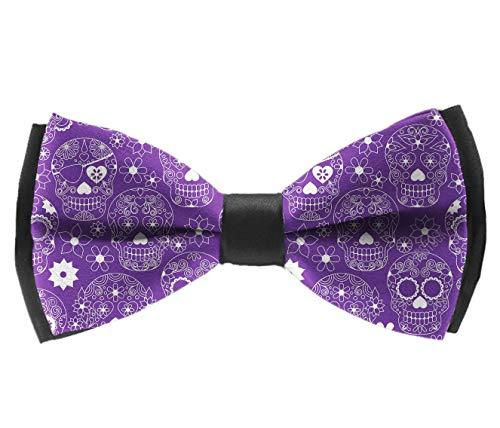 L Wright-King Men's Luxury Formal Bowtie Elegant Adjustable Tuxedo Bow Ties Purple Floral Sugar Skull