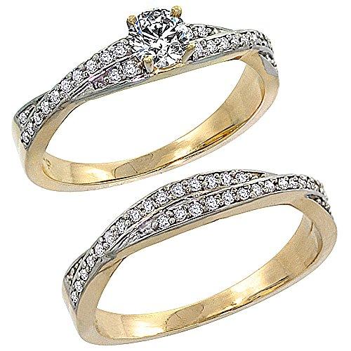 Diamond Ring Engagment Set - 14k Gold 2-Pc Diamond Engagment Ring Set 0.36 cttw Brilliant Cut Diamonds, 1/4 in. wide, size 10