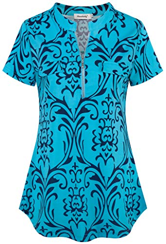 (Ninedaily Women's Tops,Floral Printed Checkred Plaided Striped Elbow Patch Draped High Low Front Fake Pocket Details Generous Elastic Cuffed Sleeve Indoor Outdoor Shirts Turquoise Size Medium)