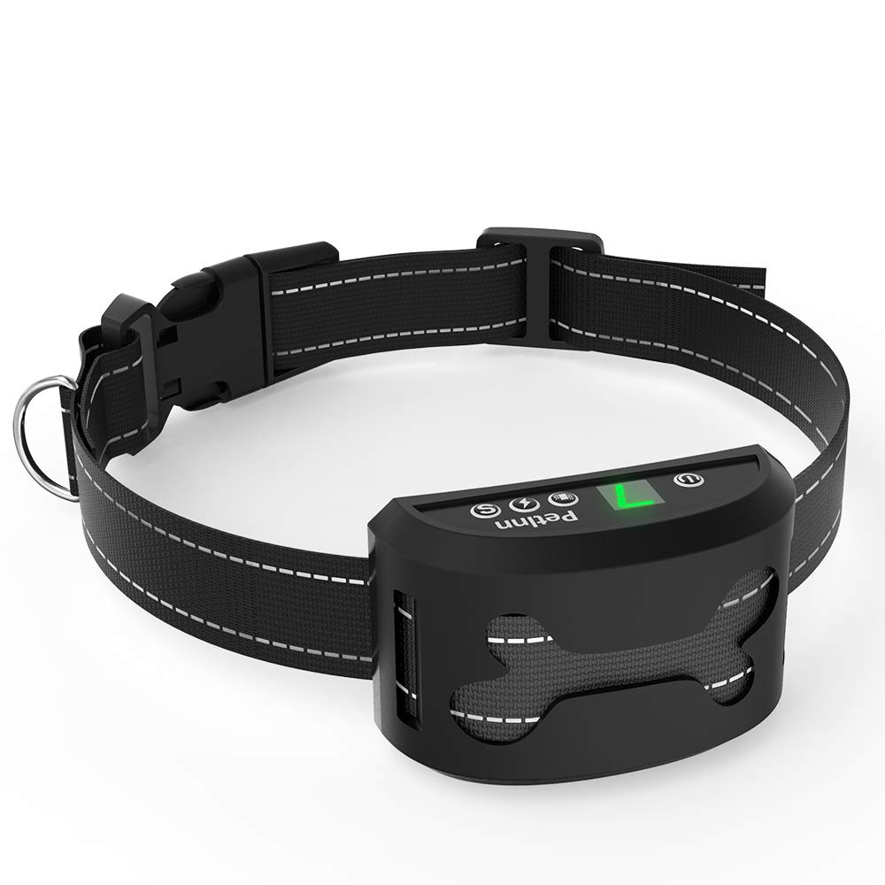 Pet Inn No Bark Collar with Vibration and No Harm Shock Adjustable Sensitivity and Intensity Levels, Rechargeable and Rainproof for Small Medium Large Dogs