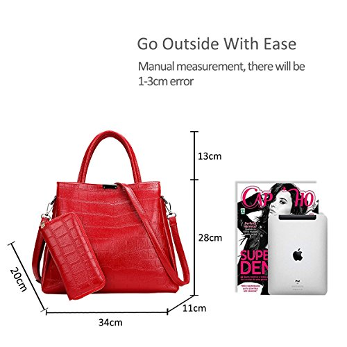 Doris 2pcs Shoulder Tote Purses amp; Bag For Red Bag Bag Women Women Crossbody Handbags Nicole Pu Crocodile Durable wfOzxqAw