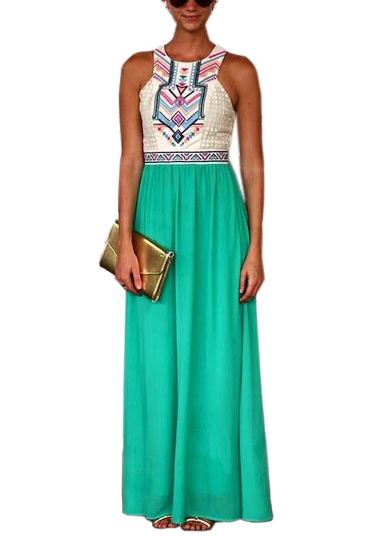 Jasmine House Fashion Damen Sommerkleid Lang Chiffon Maxi Kleid Spleiß mit ethnisch-geometrischem Muster Abendkleid Strandkleid Partykleid