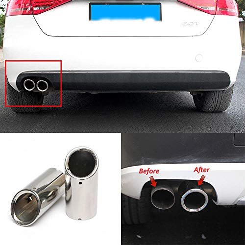 FidgetKute 2Pcs Set Muffler Exhaust Tail Pipe Tip Chrome for BMW E90 E92 325 3 Series 06-10 ()