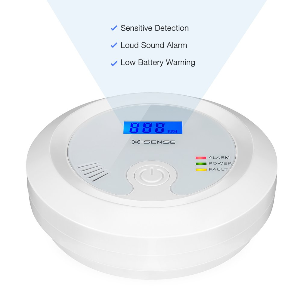 X-Sense Detector de Monóxido de Carbono Sensor de CO Electroquímica, Pantalla Retroiluminada, Memoria Integrada, con la Batería Reemplazable, ...