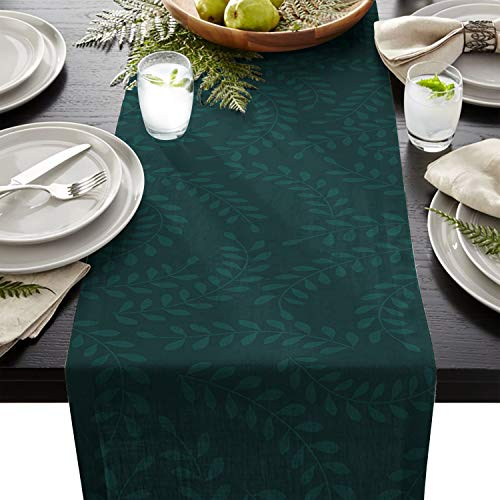 Linen Burlap Table Runner Dresser Scarves, Vintage Dark Green Plants Kitchen Table Runners for Dinner Holiday Parties, Wedding, Events, Decor - 16 x 72 Inch (Rustic Green Dresser)