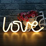 LED Love Neon Light Signs Wall Decor - XIYUNTE Night Lights Warm White Room Decor,Battery and USB Operated Bedside Lamps Home Decoration for Living Room,Bedroom,Party,Christmas & Birthday Gift