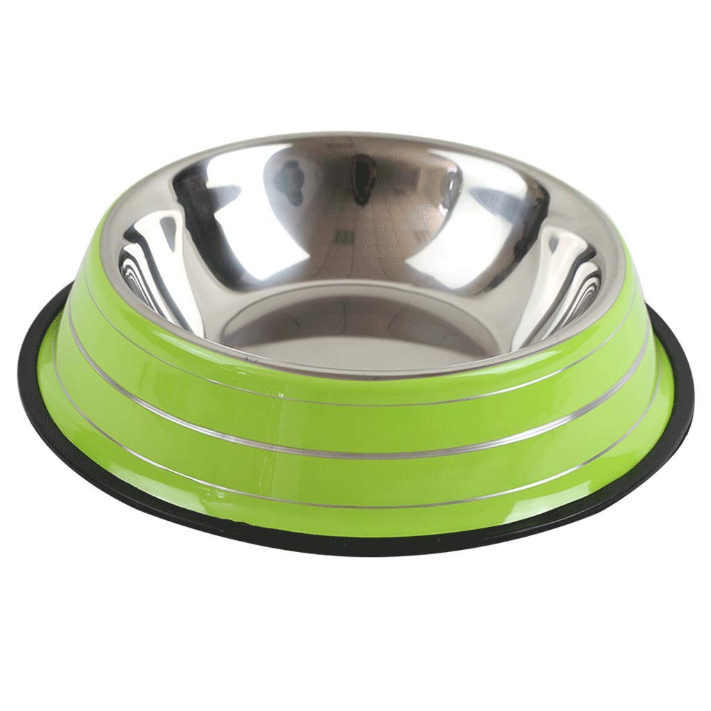 SLH Large Dog Bowl Stainless Steel Dog Pot Cat Bowl Pet Bowl Dog Supplies Green Stripes