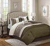 King Bed Comforter Sets for Sale Comfort Spaces – Windsor Comforter Set- 5 Piece – Khaki, Brown, Ivory – Pintuck pattern – King size, includes 1 Comforter, 2 Shams, 1 Decorative Pillow, 1 Bed Skirt