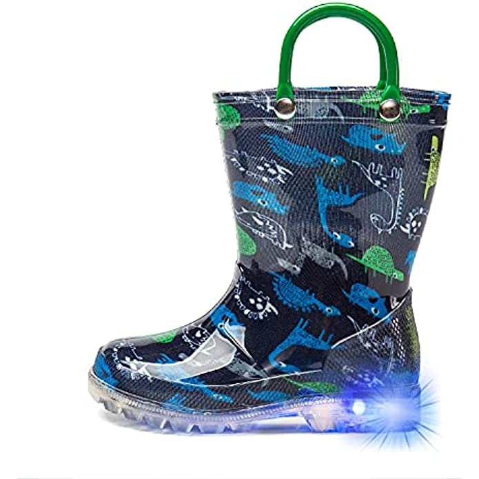 DKSUKO Toddler Light Up Rain Boots Waterprof Rubber Boots with Easy-on Handles
