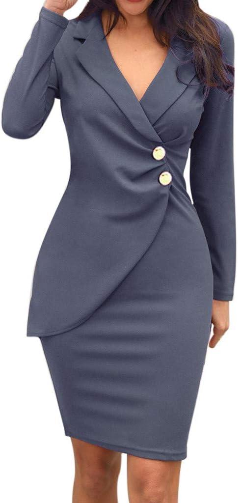 Mxjeeio-Vestido de Trabajo de Falda de lápiz Delgado para Mujer ...