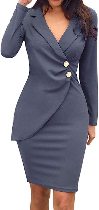 Vestido Mujer Invierno Casual Faldas Botones Delgado Color ...