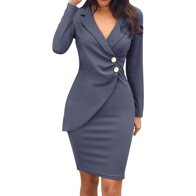 ALISIAM Moda para Mujer Color sólido Cuello Abajo Botones de ...