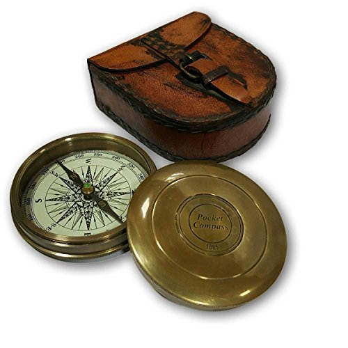 Collectible Antique Nautical Decor Astrolabe Brass Robert Frost Vintage Poem Engraved Navigational Compass