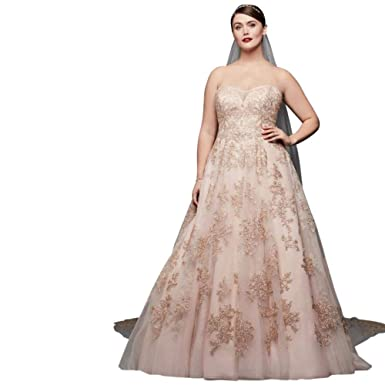 Sample: As-is Metallic Lace Plus Size A-Line Wedding Dress ...