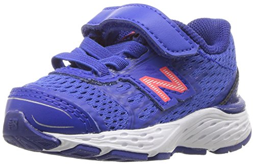 New Balance Boys' 680V5 Hook and Loop Running Shoe, Pacific/