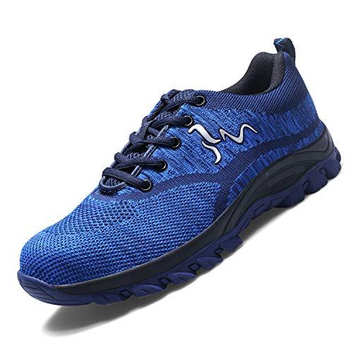 Ali-tone Mujer Hombre Zapatillas de Seguridad Deportivos con Puntera de Acero S3 Zapatos de Trabajo Entrenador Unisex Zapatillas de Senderismo ranspirables Antideslizante Ligeras Comodas Unisex Azul02