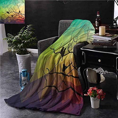 ベッドブランケットソファベッドリビングルーム59 x 35インチのモダンな抽象的な鳥と枝スロー 120X150
