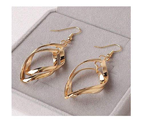 - SouthMineral 18k Gold Plated Drop Leafs Twisted Women Earrings Jewelry