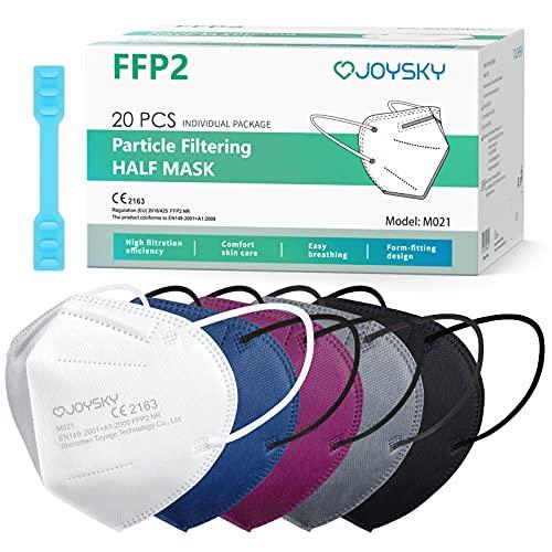 JOYSKY Mascarillas Faciales Desechables FFP2, 20pcs Mascarilla de Protección de 5 Capas, Mascara de Filtración Multicapa Antipolvo para Boca y Nariz de Colores a buen precio