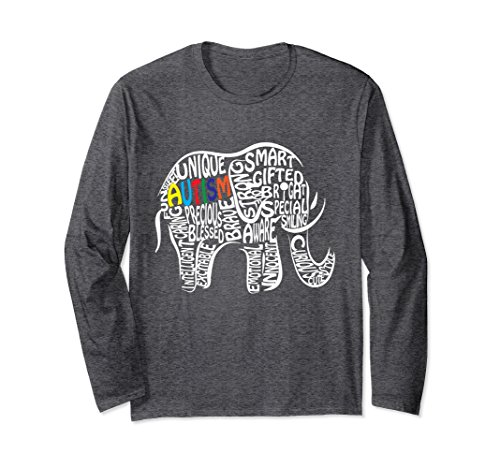 Unisex Autism Awareness Elephant Long Sleeve T Shirt Small Dark (Autism Long Sleeve T-shirt)