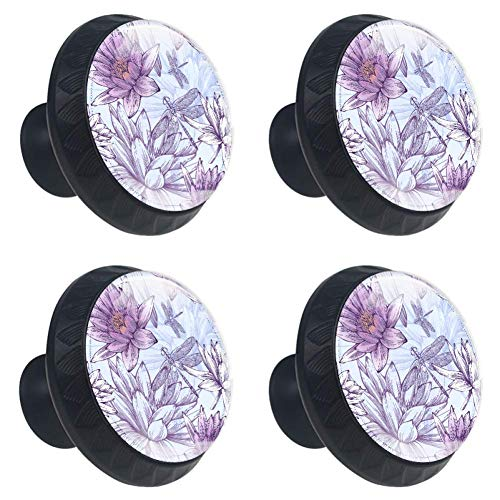 LORVIES Water Lilies and Dragonflies Drawer Knob Pull Handle Crystal Glass Circle Shape Cabinet Drawer Pulls Cupboard Knobs with Screws for Home Office Cabinet Cupboard (4 Pieces)