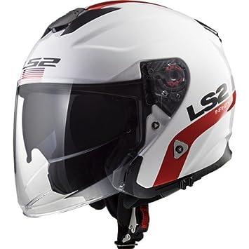 LS2 Cascos de Moto, Blanco/Rojo, Talla L