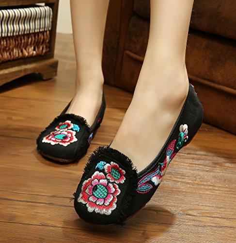 XHX Zapatos bordados, lino, lenguado de tendón, estilo étnico, zapatos femeninos, moda, cómodos zapatos de baile Black