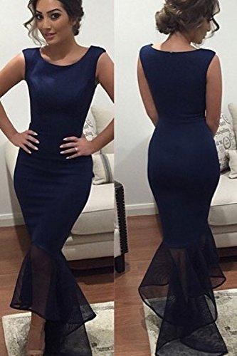 Señoras Oscuro Azul de tul de sirena Maxi vestido de cóctel vestido de vestido de fiesta Cruise Prom Boda Tamaño M UK 10–�?2EU 38–�?0
