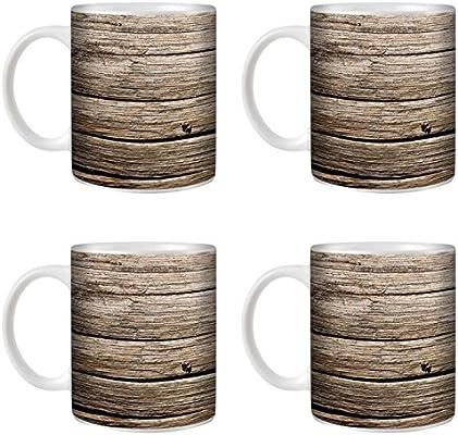 STUFF4 Taza de Café/Té 350ml/4 Pack Madera a la deriva/Efecto de ...