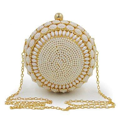 SUNNY KEY-Clutches@Damen Abendtasche Plastik Ganzjährig Alltag Veranstaltung / Fest Hochzeit Schminktäschchen Künstliche Perle Druckknopf Gold Weiß