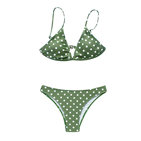 f9dec3e9fcdb8 Amazon.com: Women Polka Dots 2 Pieces Swimsuit Print Bikini Push-Up Bra  Triangle Bottom Bravetoshop: Clothing