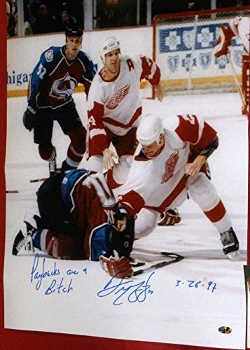DARREN McCARTY SIGNED 16X20 LEMIEUX FIGHT PHOTO DETROIT RED WINGS PAYBACKS - Wings Great Detroit American Red