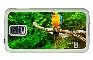 Hipster customize Samsung Galaxy S5 Case Sitting Macaw Parrot PC White for Samsung S5