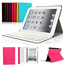 iPad 2/3/4 Keyboard Case, Symbollife Apple Bluetooth Ipad Keyboard Ultra Slim Pu Leather Folio Smart Case Stand Cover + Removable Wireless Bluetooth Keyboard with Retina Display Rose Pink