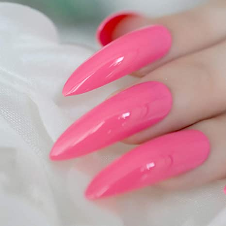 Amazon.com : Hot Pink Extra Long False Nails Stiletto Tips Oval Sharp End Stilettos Fake Nail Rose Red UV Gel Manicure Artificial Nails Salon Z752 : Beauty